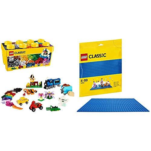 LEGO Classic - Caja de Ladrillos Creativos, Set de Construcción con Ladrillos de Colores (10696) + Base Azul de Juguete de Construcción de 25 cm de Lado para Juegos Creativos y Educativos