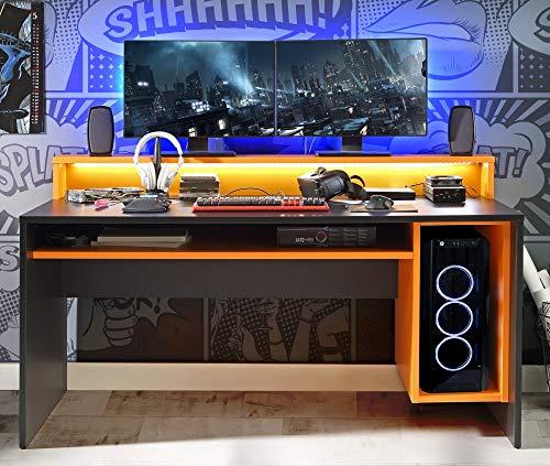 Forte Tezaur Schreibtisch, Holzwerkstoff, Schwarz matt kombiniert mit Orange, 94 x 160 x 69 cm