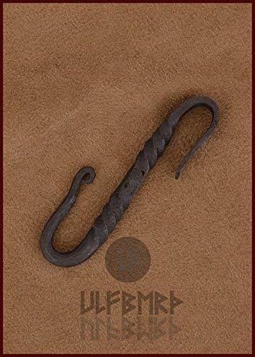 Handgesmede riemhaak van staal, S-haken, lengte: ca. 7 cm LARP middeleeuwse Vikinger.