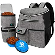PetAmi Dog Travel Bag Backpack | Backpack Organizer with Poop Bag Dispenser, Multi Pocket, Food Container Bag, Collapsible Bowl | Weekend Pet Travel Set for Hiking Overnight Camping Road Trip (Gray)