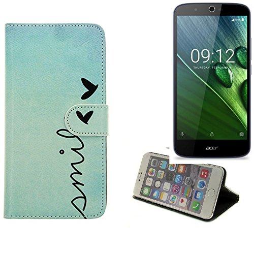 K-S-Trade® Schutzhülle Für ACER Liquid Zest Plus Hülle Wallet Case Flip Cover Tasche Bookstyle Etui Handyhülle ''Smile'' Türkis Standfunktion Kameraschutz (1Stk)