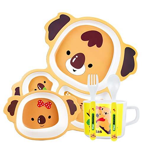 Cxssxling Vajilla de fibra de bambú para niños tazón de arroz Baby Grid Plate Bowl Set
