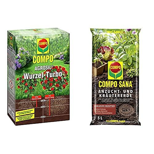 COMPO AGROSIL Wurzel-Turbo, Hochwirksames Bewurzelungshilfsmittel, 0,7 kg & SANA Anzucht- und Kräutererde mit 6 Wochen Dünger für alle Jung- und Kräuterpflanzen, Kultursubstrat, 5 Liter