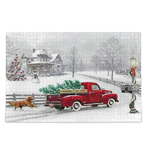 Winter Red Truck Wood Jigsaw Puzzle Christmas Tree Dog Snowflake Cardinal Bird 1000 Pieces Jigsaw Puzzles