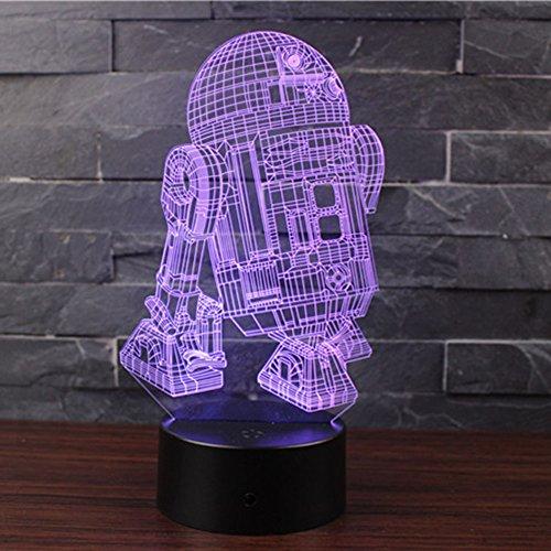 3D Lampes Illusions Optiques NHsunray 7 couleurs Changement Tactile Interrupteur Lumière De Nuit Art Déco Faites Une Ambiance Romantique Dans La Chambre Chambre D'enfants Salon (R2D2-B)