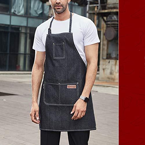 schürze Schürze Männer und Frauen allgemeine Restaurant Mode Denim Overalls Küchenchef Latzhose (1 Stück)@Braune hängende Halsschürze 832221
