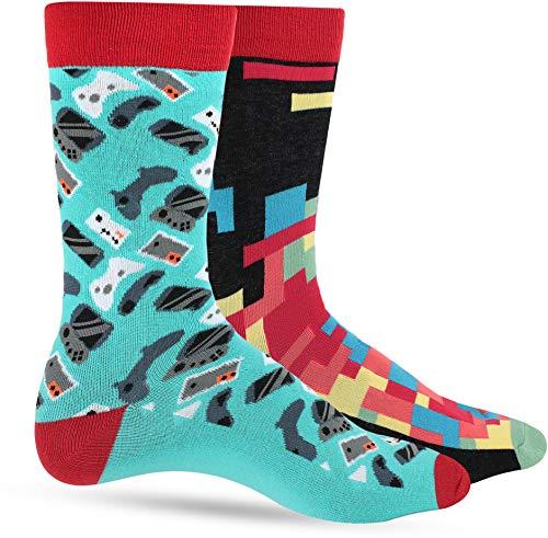 Mens Dress Socks: Funny Socks For Men: Novelty Crazy Cool & Funky Colorful Sock: Video Game Retro