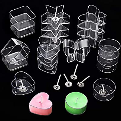 20 Pieces Plastic Clear Tea Light Candle Cup Holders Heat-Resistant Plastic Votive Containers Heart Square Star Round Butterfly Shapes Tealight Cups with 25 mm Candle Wicks for DIY Candle Making