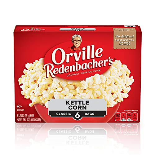 Orville Redenbacher's Kettle Corn Microwave Popcorn, 3.28 Ounce Classic Bag, 6-Count