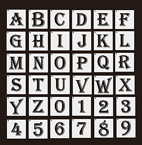 36 Pack Reusable Letters Numbers Stencils, Alphabet Stencils Templates for Art and Craft Painting, Bullet Journal Writing, Doodle Drawing on Wood, Glass, Wall, Fabric, Chalkboard