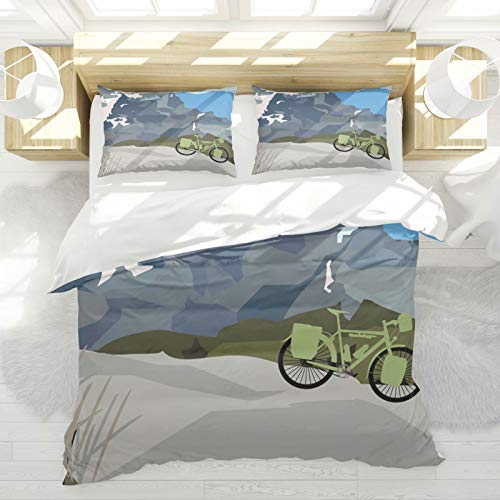 Mountain Bike On Mountain Landscape Decorative Bedding Sets Soft Polyester Duvet Cover Sets Twin Size 2 Piece for Kids Boys Girls Teens, 1 Duvet Cover with 1 Pillow Shams