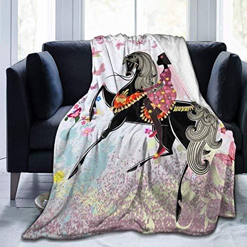 iui Pferde- und Mädchen-Flanelldecke, super weich und bequem, Bettdecke, geeignet für Sofa, Mikrofaser.