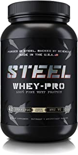 Steel Supplements Whey-PRO Whey Protein Powder Supplement Supports Lean Muscle Gains 3 Pounds (French Vanilla)