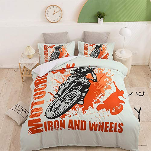 AHKGGM Duvet cover set Double Motorcycle Bedding 3 pcs Microfiber duvet cover 79x79 inch with zipper closure And 2 pillowcases 20x30 inch -for adults and children's bedrooms