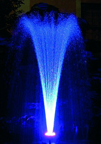 Ocean Mist Small Floating Fountain with 48 RGB LED Lights and 600GPH Submersible Pump for Ponds, WaterGardens and Swimming Pools