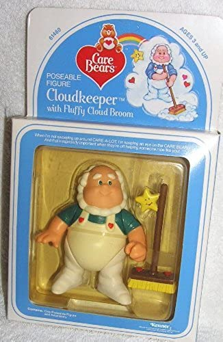 1984 Vintage Care Bears 4 Poseable Cloudkeeper Figure with Fluffy Cloud Broom by Care Bears