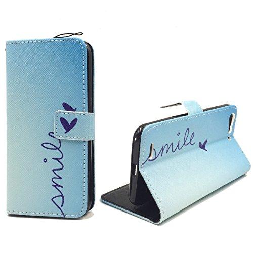 König Design Handyhülle Kompatibel mit ZTE Blade V6 Handytasche Schutzhülle Tasche Flip Hülle mit Kreditkartenfächern - Smile Blau