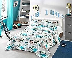 8. AZORE LINEN Kids' Dinosaur Twin Quilt Bedspread