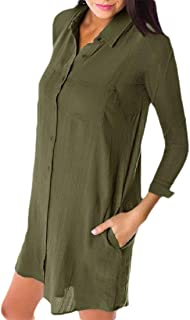 neveraway Women Solid Colored Pocket Long Sleeve Button Lounge Blouse Shirts