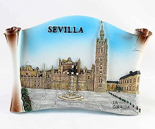 Placa decorativa de Sevilla, Giralda, en resina y pintada a mano. Para colgar o sobremesa. Ancho 12,7 cm