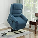 Lansen Furniture Electric Power Lift Recliner Chair Traditional Comfortable (Brushed) Linen Fabric Lounge for Elderly Gift Nursing Home Equipment (Blue)