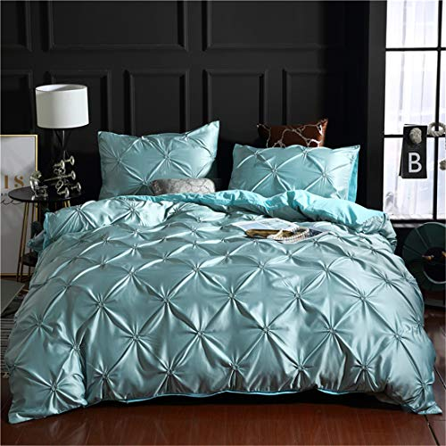 Erosebridal Blue Pinch Pleated Quilt Cover King Size Silk Like Satin Pintuck Bedding Set with Zipper Ruffle Design Luxury & Microfiber Comforter Cover Pintuck Decorative Bedspread Cover
