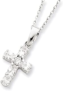 """Lex & Lu Sterling Silver CZ Cross on 16 Box Chain Necklace 16"""""""