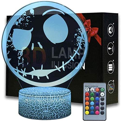 Luz nocturna de ilusión óptica 3D, lámpara de mesa LED táctil Jack Skellingto 16 colores con control táctil USB para decoración de fiestas, lámpara visual 3D para decoración del hogar