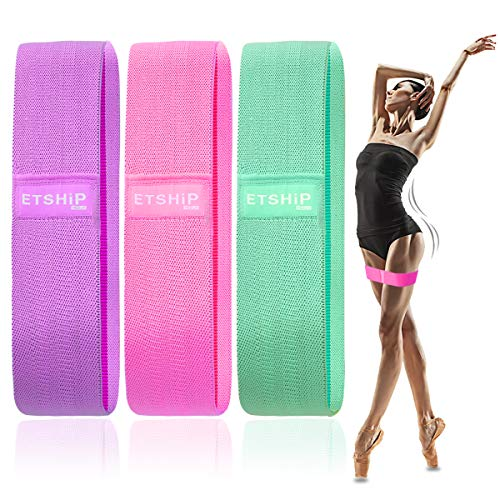 Workout Resistance Exercise Bands, Non-slip Strength Loop Training Band, ETSHiP 3-Level Stretch Thick Elastic Hip Band, Women Men Weight Band for Glute Muscle Squat Home Fitness Band with Portable Bag