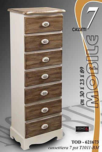 CASSETTIERA MINI SHABBY CHIC ARREDO LEGNO 5 CASSETTI CASA MOBILE LEGNO ART.640322