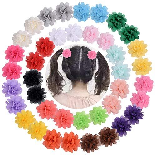 15 Stück Chiffon Blume Haarspangen Haar Barrettes Clip Haarspangen mit Blumen und Schleifen Haarclips Blumen Haarklammer Haarspangen für Kinder Mädchen Haarspangen für Neugeborene Kleinkinder Mädchen