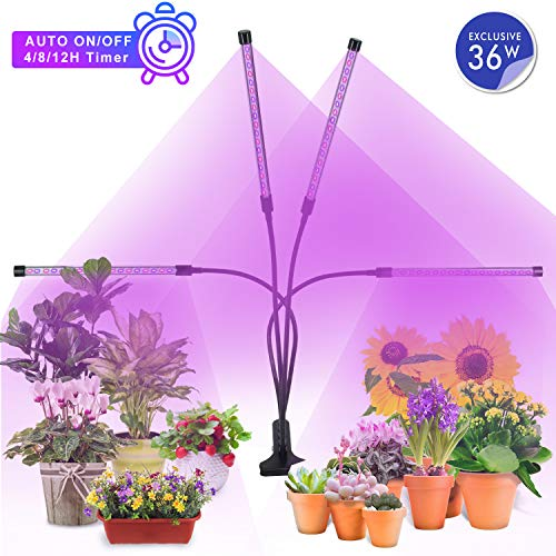 MiMiya Lampe de Croissance pour Plantes, 5 Niveaux à variation réglable LED Plante Lampe, 36W Lampe pour Plante 72 LEDs Lampe Horticole Spectre Complet avec Chronométrage AUTO - ON/OFF 4H / 8H / 12H