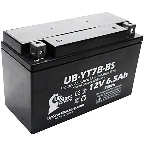 YT7B-BS Battery Replacement (6Ah, 12v, Sealed) Factory Activated, Maintenance Free Battery Compatible with - 2005 Yamaha YFZ450, 2006 Yamaha YFZ450, 2007 Yamaha YFZ450, 2008 Yamaha YFZ450