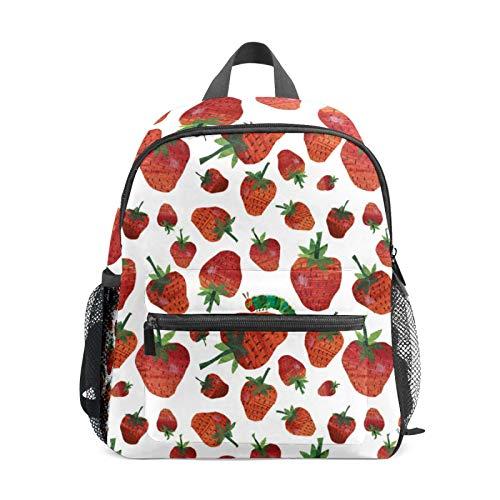Mochila estudiantil para niños y niñas, diseño de fresas con bonito patrón casual mochila de viaje para la escuela, regalo organizador
