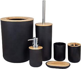 Accessoires salle bain Set Porte-brosse à dents Bambou Comptoir en bois Autoportant Distributeur savon Tasse cuisine Bross...