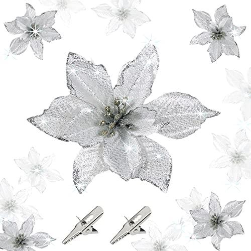 24Piezas Flores Navidad Artificiales,14cm Poinsettia De Brillo Navideño, Poinsettia Brillante Adorno de Árbol de Navidad...