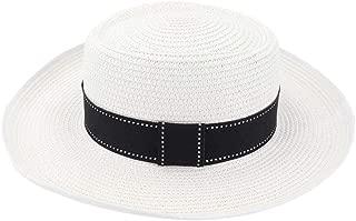 SHENTIANWEI Summer Women Straw Sun Hat Visor Outdoor Seaside Sun Hat Protection Edging Wave Decoration Hat Flat Hat