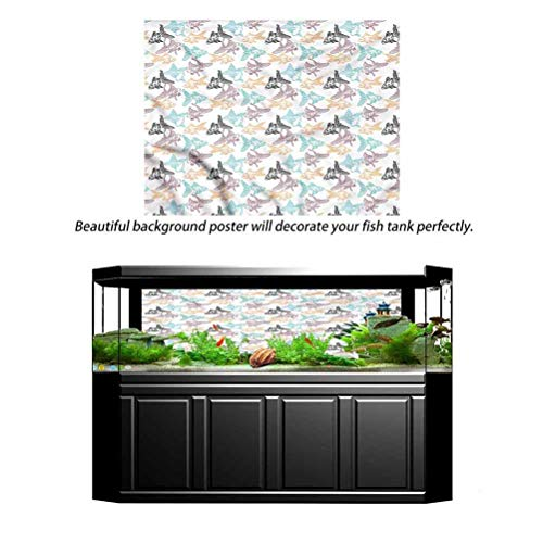 Hello-one Sweaters Fish Tank Wallpaper Aquarium Background Goldfish and Perch Outline 60' L x 24' H Pictures Poster Background Decoration