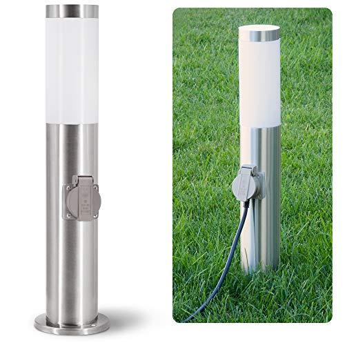 linovum BOSEA-S Außenleuchte mit Steckdose & E27 Sockel - Energiesäule 50cm Edelstahl Außenbereich Stromsäule mit Licht IP44