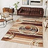 Tapiso Alfombra De Salón Moderna – Color Marrón Beige Diseño Retro Rayas Círculos – Varias Dimensiones S-XXXL 160 x 230 cm