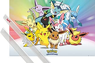 1art1 Poster + Hanger: Pokemon Poster (36x24 inches) Pikachu, Eevee, Jolteon Flareon Vaporeon Umbreon Leafeon Glaceon Sylveon and 1 Set of Transparent Poster Hangers