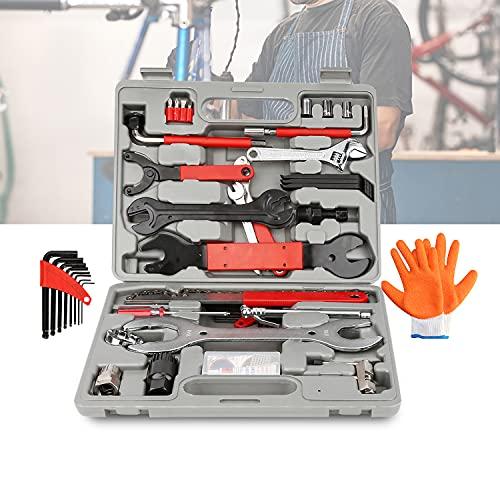 SONUG Maletín de herramientas para bicicleta, 48 piezas, kit de reparación de herramientas multifunción para la reparación de neumáticos, frenos, luces y cadenas