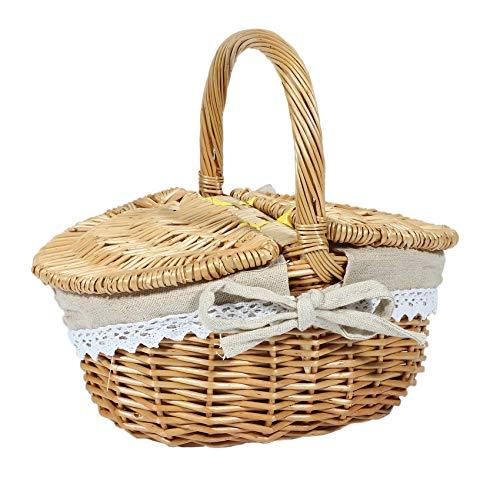 Tashido Cesta de mimbre hecha a mano con asa, cesta de picnic de camping de mimbre con doble tapa, cesta para la compra con forro de tela