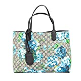 Gucci Blossoms Blue Navy Reversible GG Blooms tote Leather Handbag Bag New