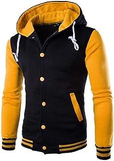 WUFAN Men's Pockets Button Raglan Sleeve with Hood Casual Sweatshirt