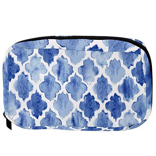 TIZORAX Cosmetic Bags Blue Round Diamond Shape Handy Toiletry Travel Bag Organizer Makeup Pouch for Women Girls