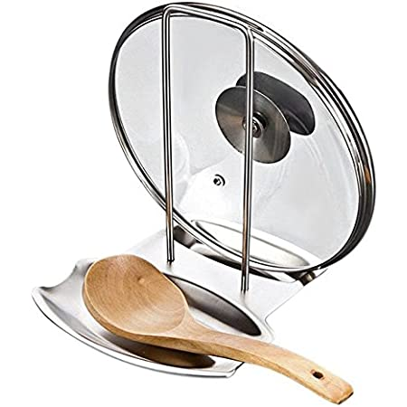 Kitchen Organizer Pot Lid Rack Stand Pan Cover Holder Spoon Rest Shelf Storage