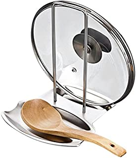 Lid and Spoon Rest,Pan Pot Cover Lid Rack Stand Organizer Spoon Rest Stove Organizer Storage Soup Spoon Rests Utensils Lid Holder Spoon Holder Lid Rest Lid Shelf Kitchen Utensils (Stainless Steel)