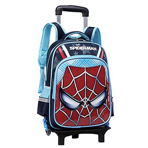 GJZhuan Niños Spiderman Hidden Pull Bar Mochila 2 Ruedas con Varilla De Mano Desmontable Antichoque Maleta para Niños Bolsas Picnic Al Aire Libre,Blue-40 * 30 * 19cm