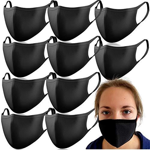 Descena 10 Kindermasken schwarz: Behelfs-Mundschutz Kinder waschbar I Baumwollmaske Kinder schwarz.: Behelfs-Mundschutz Maske schwarz I Wiederverwendbare Masken schwarz für Jungen und Mädchen
